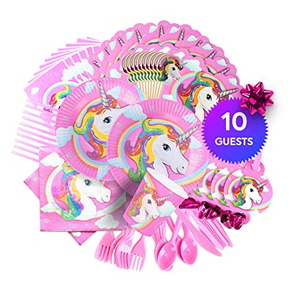 Unicorn Fairy Tale Party Supplies - 145 Pieces Rainbow Girls Birthday  Supplies Pack with Unicorn Face Masks dfd6fd1798ff