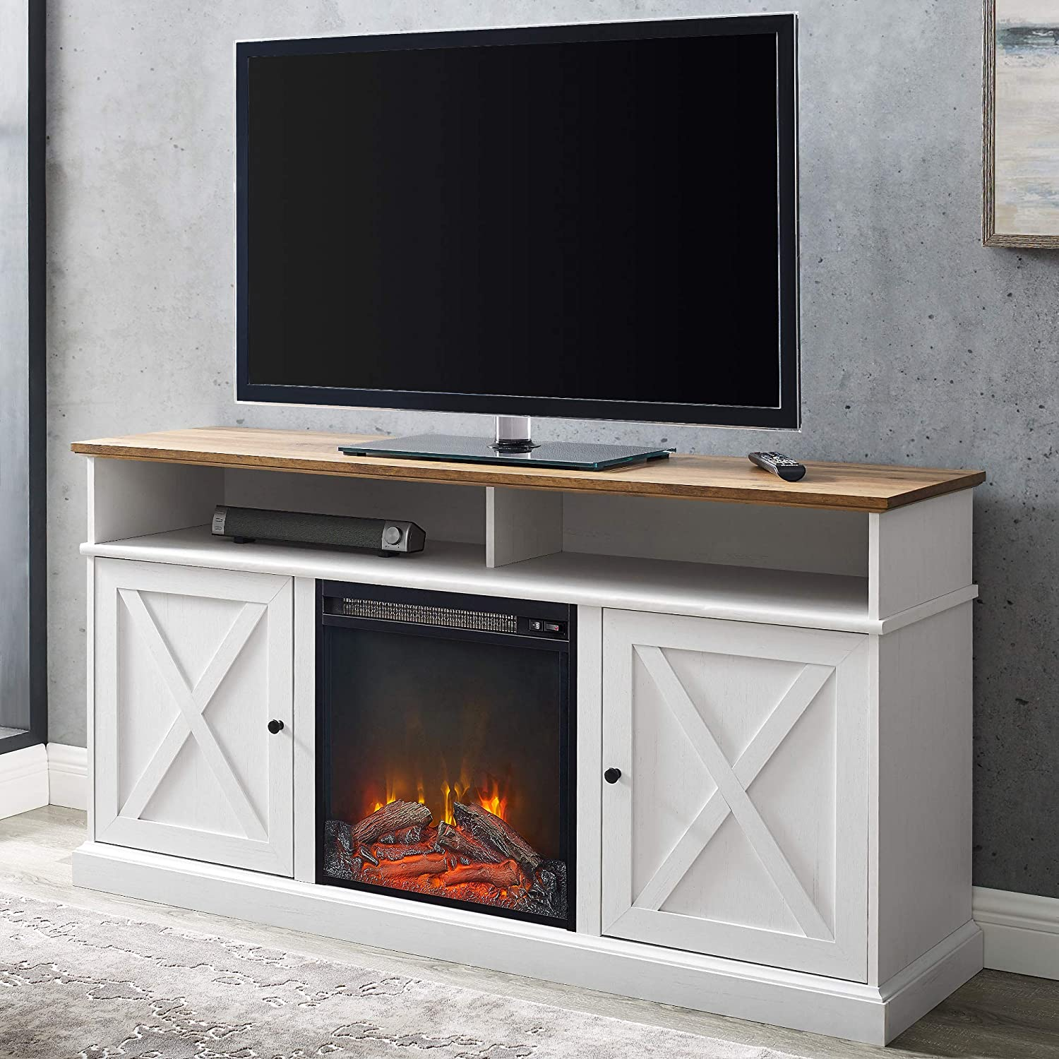 Walker Edison Atticus Farmhouse Tall X Barn Door Fireplace Stand for TVs up to 65 Inches, Reclaimed Barnwood/White