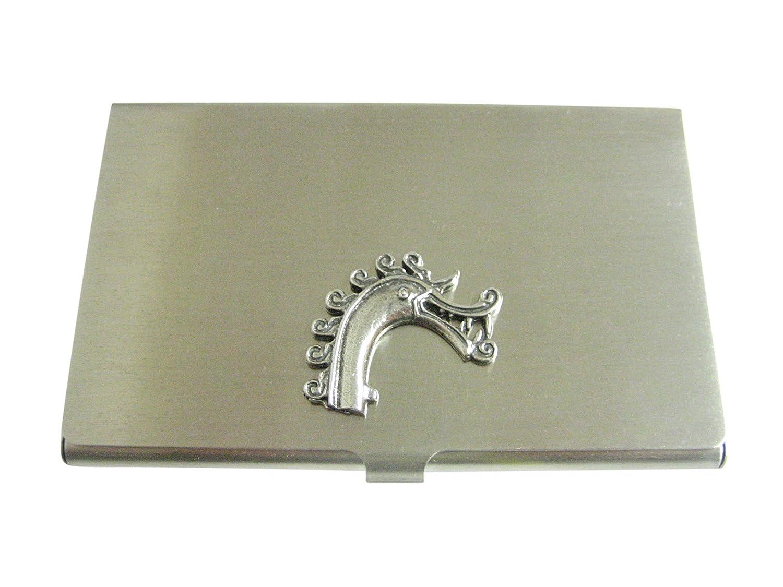Silver Toned Textured Texturedバイキングドラゴンヘッドビジネスカードホルダー   B06XVPHT73