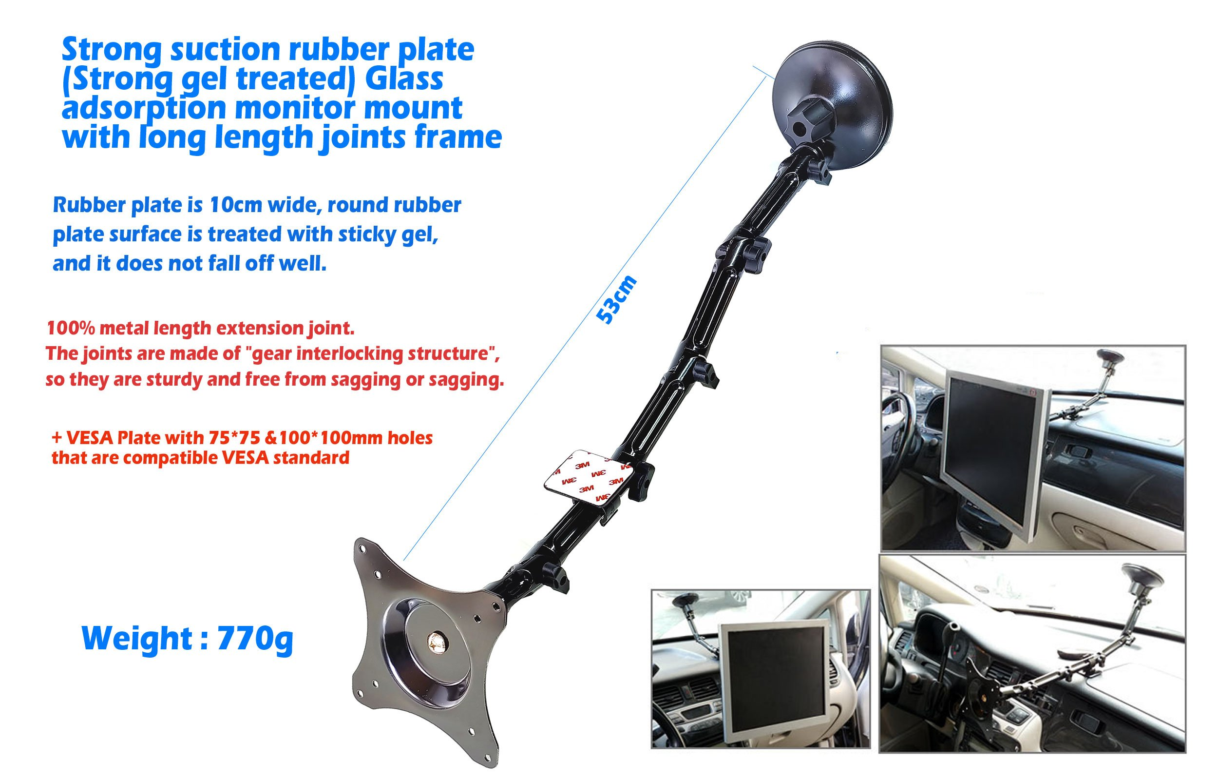 Powerful glass-absorbing monitor mount with a diameter of 100mm Rubber plate that is treated rounded circle border with sticky GEL+gear engaging LONG joint support part+75mm and 100mm VESA internation