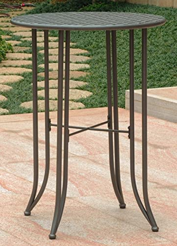 International Caravan Iron Bar-Height Patio Table in Rustic Brown