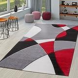 TT Home Alfombra De Salón Moderna Motivo Abstracto Perfil Contorneado Negro Gris Rojo, Größe:160x230 cm