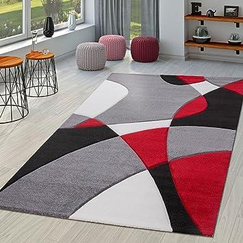 TT Home Tapis Moderne Salon Abstrait Découpe des Contours en Noir Gris  Rouge, Dimension:160x230 cm