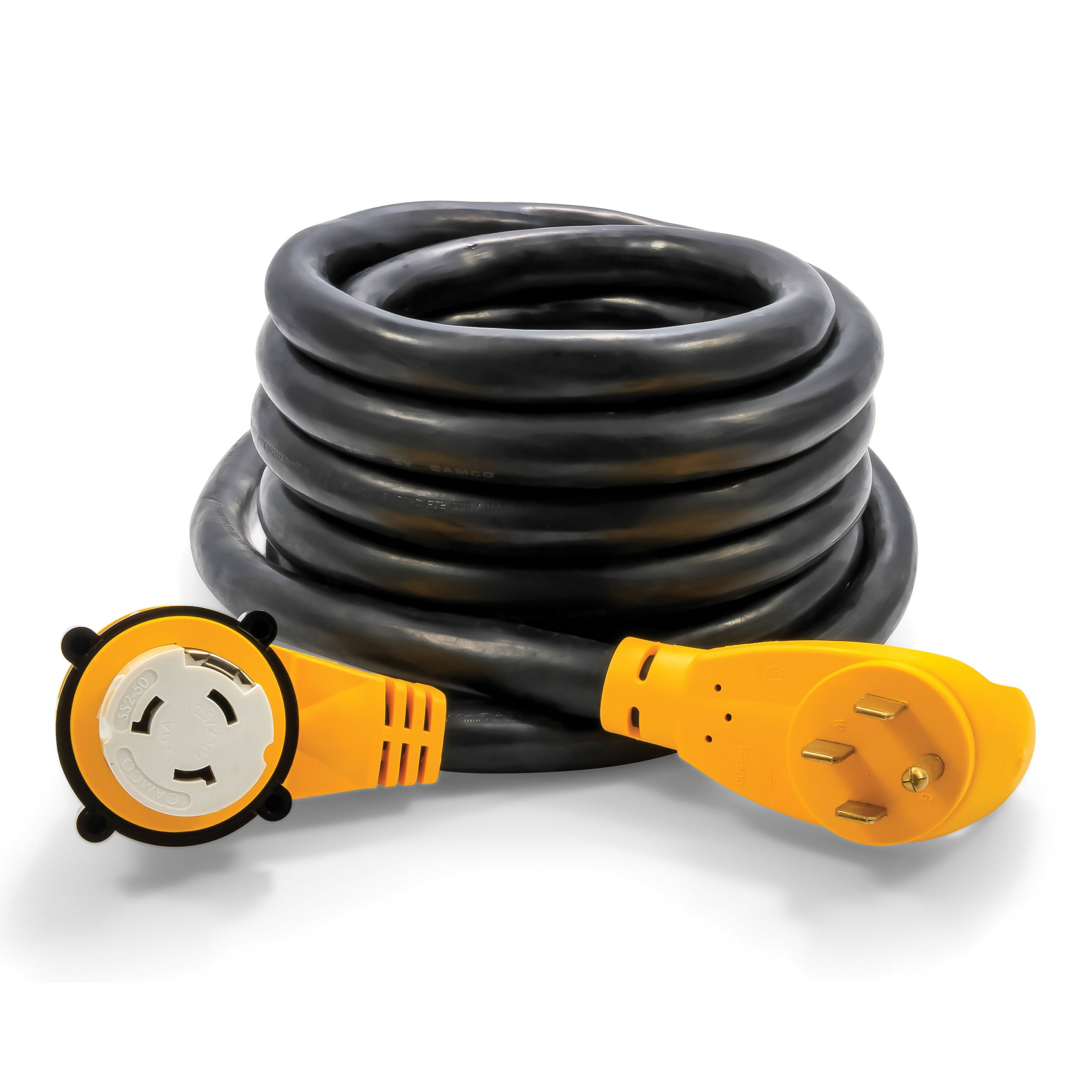 Camco 25 Foot Extension Cord - 50 Amp Standard Male to 50 Amp 90 Degree Female Locking Adapter (55574) by Camco (Image #1)