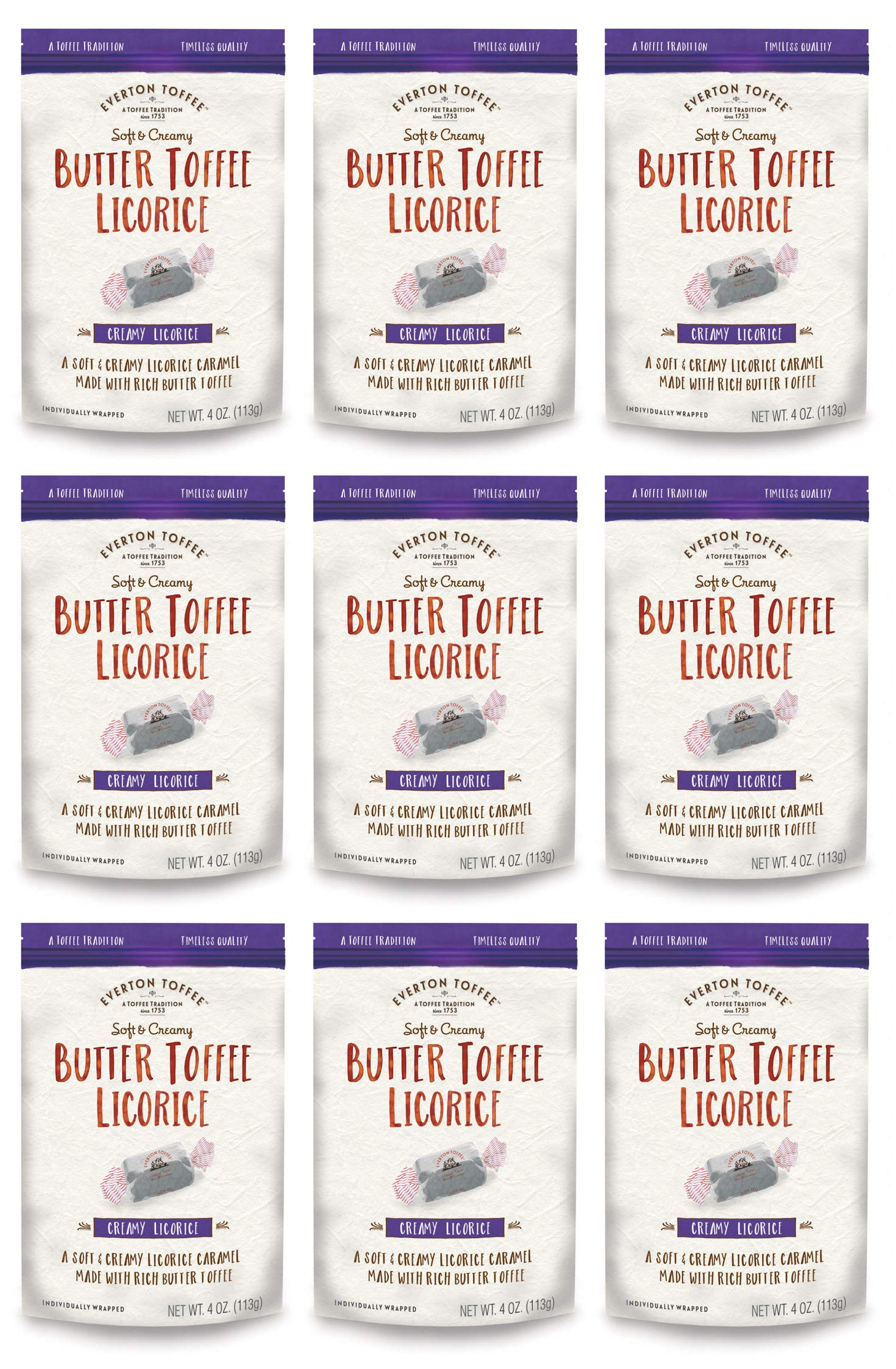 Everton Toffee Butter Toffee Caramels, Licorice Flavor (4 oz. bag, 9-pack). Gourmet, Artisan Soft and Creamy Toffee Caramels, Small Batch Crafted Carmel Candy Treats by Everton Toffee