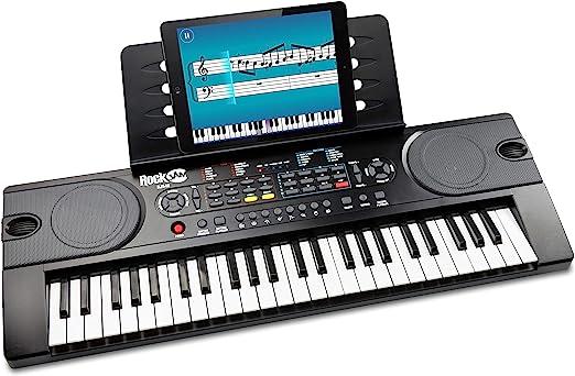 Piano RockJam con teclado de 49 teclas con fuente de alimentación, atril para partituras, pegatinas para notas de piano y lecciones de piano simple.