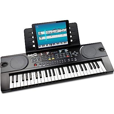 RockJam RJ549 - Piano de Teclado Eléctrico Portátil  de 49 Teclas con Fuente de Alimentación, Soporte para Partituras y Aplicación Simply Piano