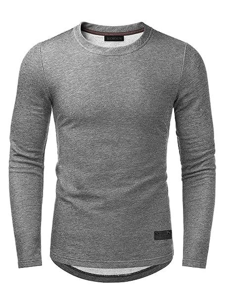 HEMOON Herren Langarmshirt Pullover Melange Longsleeve Classic Grau L