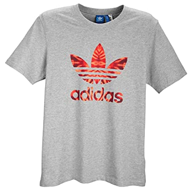3bae603efbe0b Adidas Men's Trefoil Burst Tee Med Grey/Solar Red S07765 Large at ...