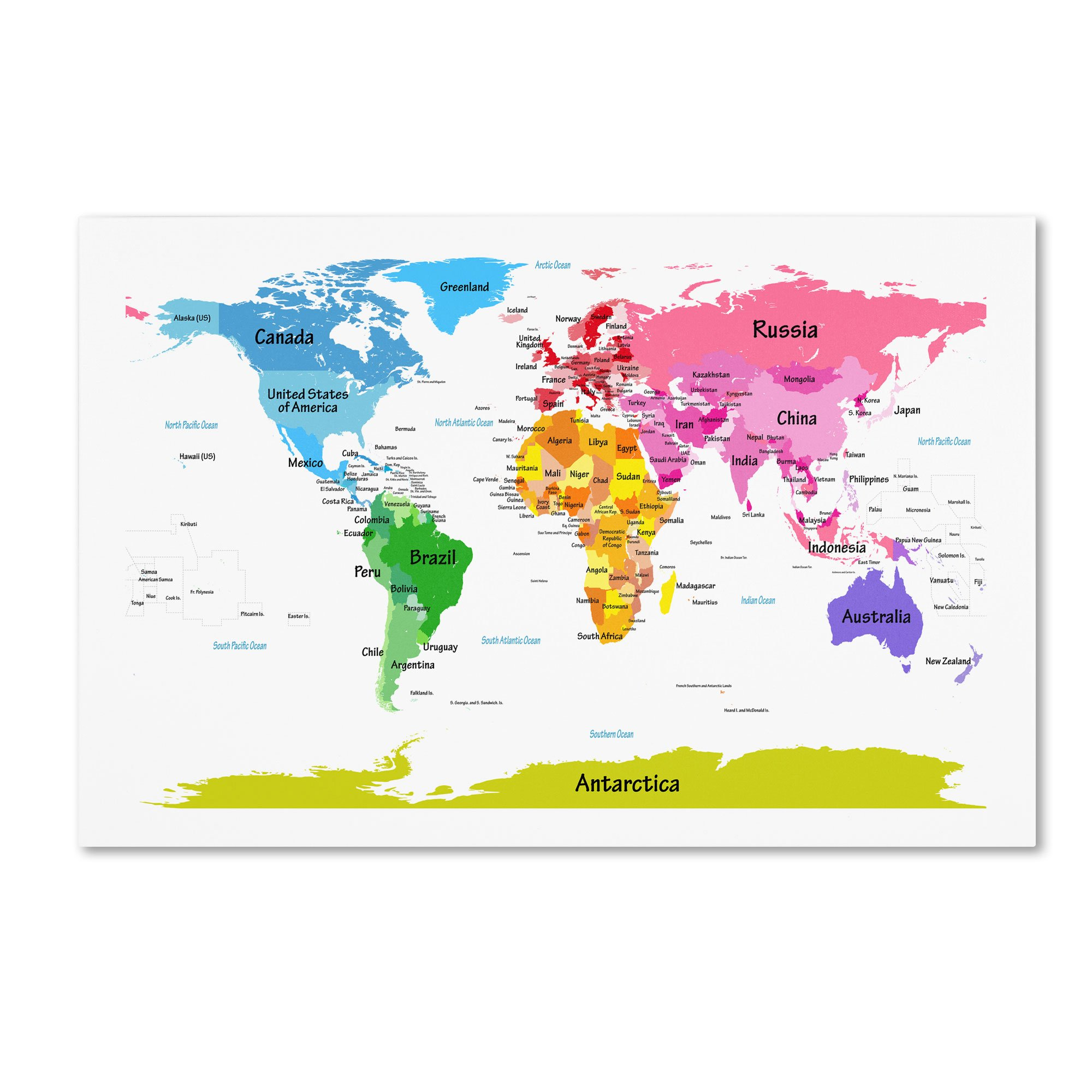 World Map for Kids II Artwork by Michael Tompsett, 22 by 32-Inch Canvas Wall Art