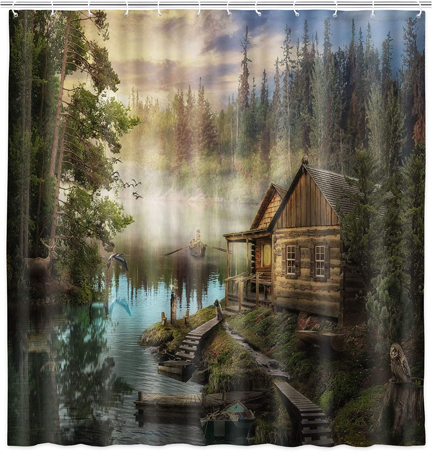 NYMB Natural Scenery Lake House Shower Curtain Sets, Wooden Cabin Pine Tree in Magic Forest, Waterproof Fabric Bath Curtain Bathroom Accessories Decor Set with Hooks, 69X70 in
