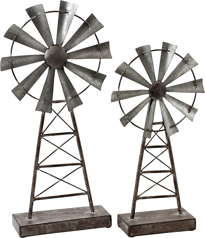 Aspire Farmhouse Windmill Table Top Decor (Set of 2), Gray
