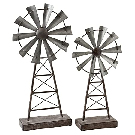 Aspire Farmhouse Windmill Table Top Decor Set of 2 , Gray