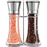 Willow & Everett Stainless Steel Salt and Pepper Grinder Set -Tall Shaker, Adjustable Coarseness, Refillable -Sea Salt…