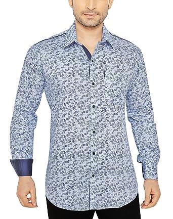 0767bcec Global Rang Men's Cotton Floral Printed Casual Shirt (Blue, 38 ...
