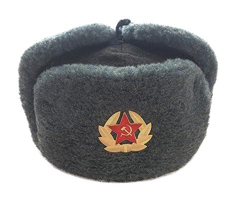 08284a87fefa2 Ganwear® Russian Soviet USSR Army Style Military Uniform Fur Ushanka Cold  War Hat Cap with Badge  Amazon.co.uk  Clothing