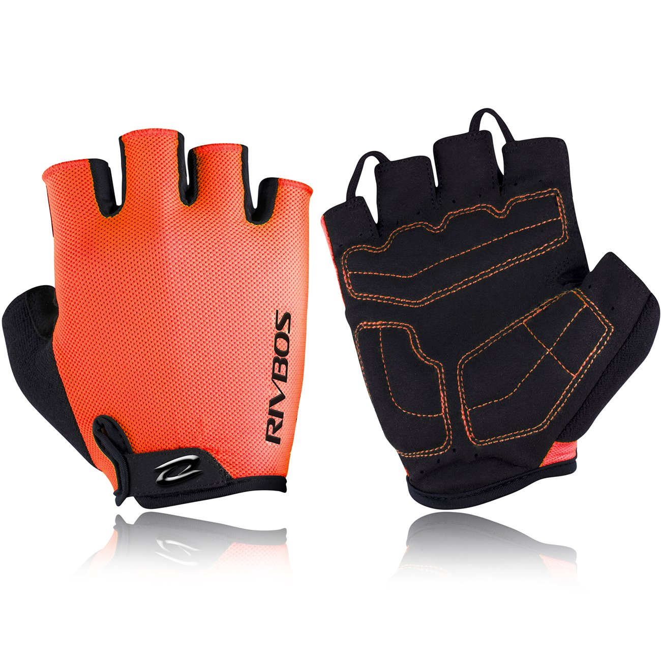 RIVBOS Bike Gloves Cycling Gloves Fingerless for Men Women with Foam Padding Breathable Mesh Fashion Design for Mountain Bicycle Motorcycle Riding Driving Sports Outdoors Exercise CHG001 (Orange M) by RIVBOS
