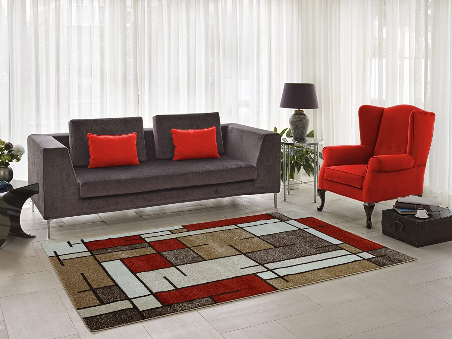 Joy Beige Cream Area Rug Modern Contemporary Geometric Red/Orange White Area Rug Living Room (2'7 x 4'11) Ladole Rugs