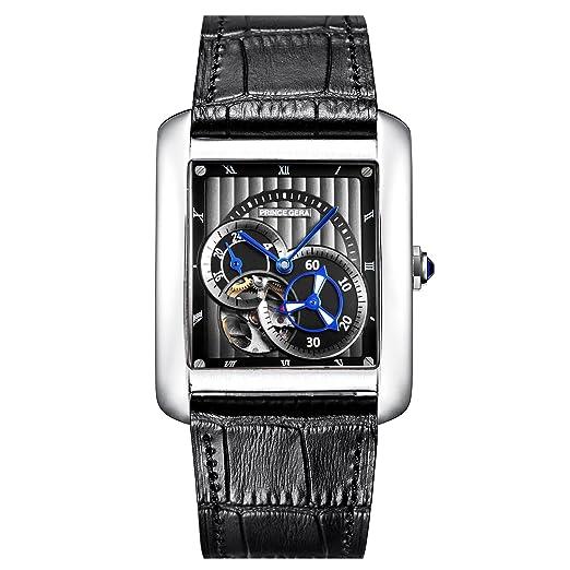 PRINCE GERA reloj para hombre impermeable correa de piel de becerro reloj de pulsera de vestir