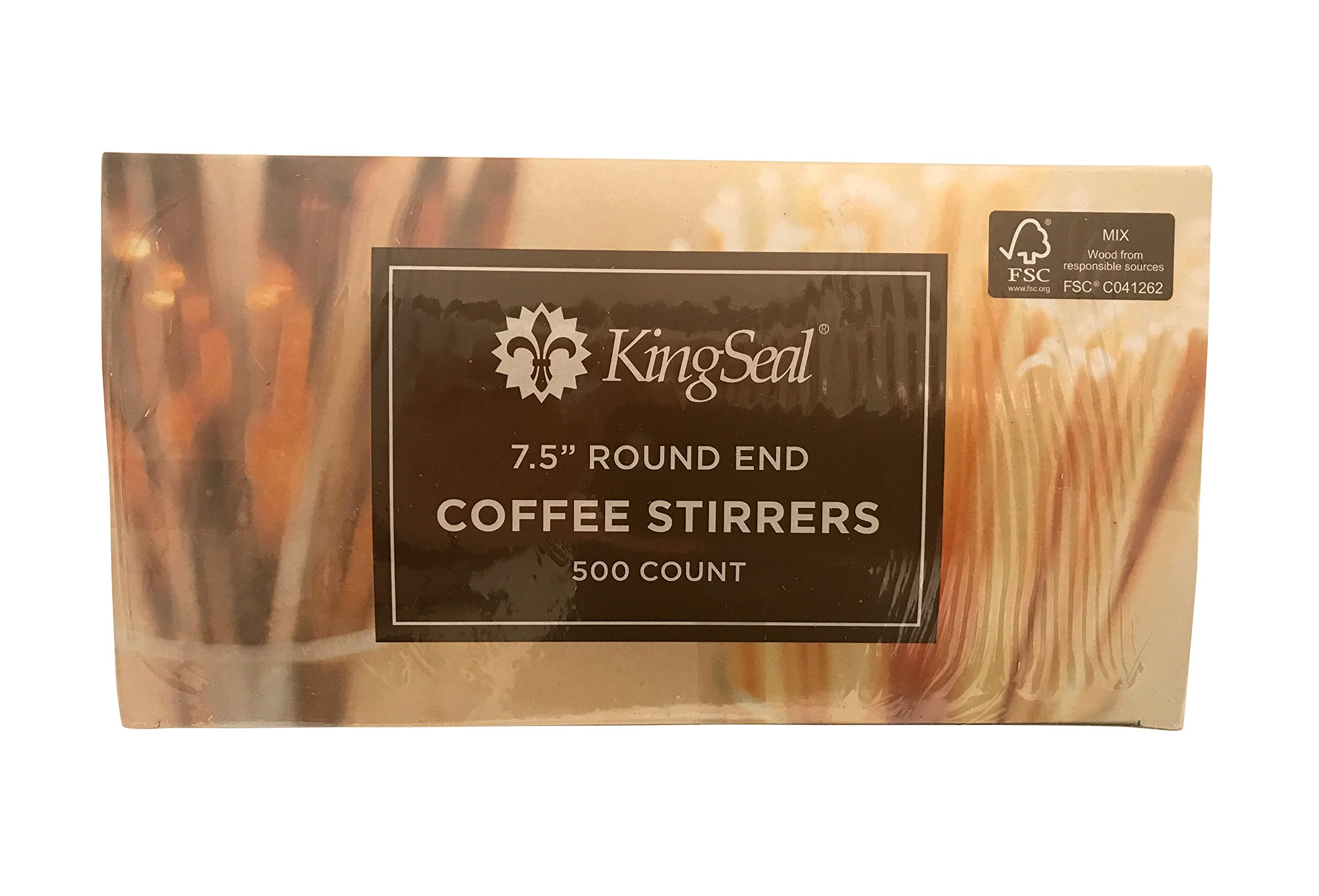 KingSeal FSC Certified Sustainably Sourced Birch Wood Coffee Stirrers, Stir Sticks - 7.5 Inches, Round End, 2 Packs of 500 per Case