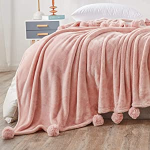 Andywoo Pom Pom Pink Throw Blanket for Autumn and Winter, Lightweight Cozy Fluffy Flannel Bed Blanket, Warm and Thick Fleece Blanket for Bed, Sofa, 60 x 80 Inches