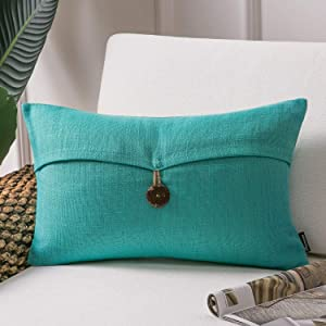 Phantoscope Farmhouse Throw Pillow Case Button Vintage Linen Decorative Soft Cushion Cover for Couch Bed Living Room and Office Chair, Water Green, 12 x 20 inches, 30 x 50 cm