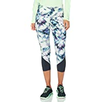 Under Armour Women's Fly Fast HeatGear Printed Crop Capri, Seaglass Blue/Blackout Purple/Reflective (403)