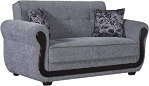 BEYAN Surf Avenue Collection Upholstered Convertible Storage Love Seat with Easy Access Storage Space, Includes 2 Pillows, Gray