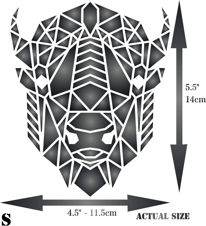 Bison Stencil 11.43 x 13.97 cm - Geometric Decor American Buffalo Head Stencils S