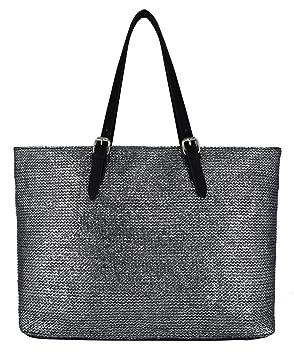 e78537e48c4ec David Jones - Damen Stroh Metallisches Leder Henkeltasche - Große  Geflochten Schultertasche Palmtasche Stil Tasche -