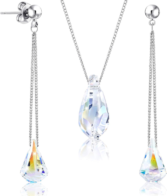 2SPLENDID® Conjunto de Collar y Pendientes Chapado en Rodio con Cristales de Swarovski ǀ Set de Joyería para Mujer con Juego de Pendientes y Colgante Presentado en Cajita para Regalo