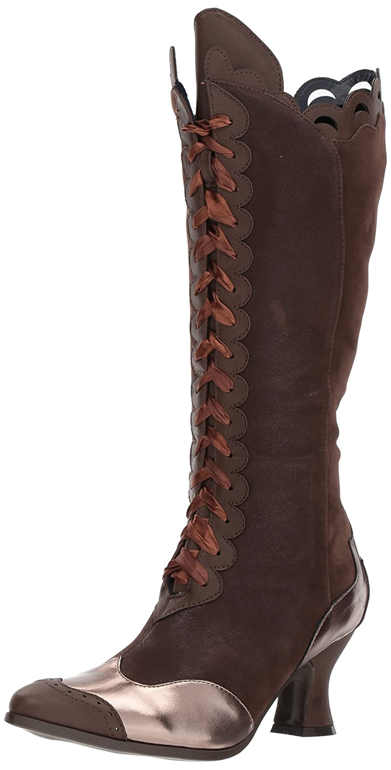 Women's 253-Stella Brown Faux Suede & Satin Ribbon Lace-Up Victorian Pirate Boot - DeluxeAdultCostumes.com