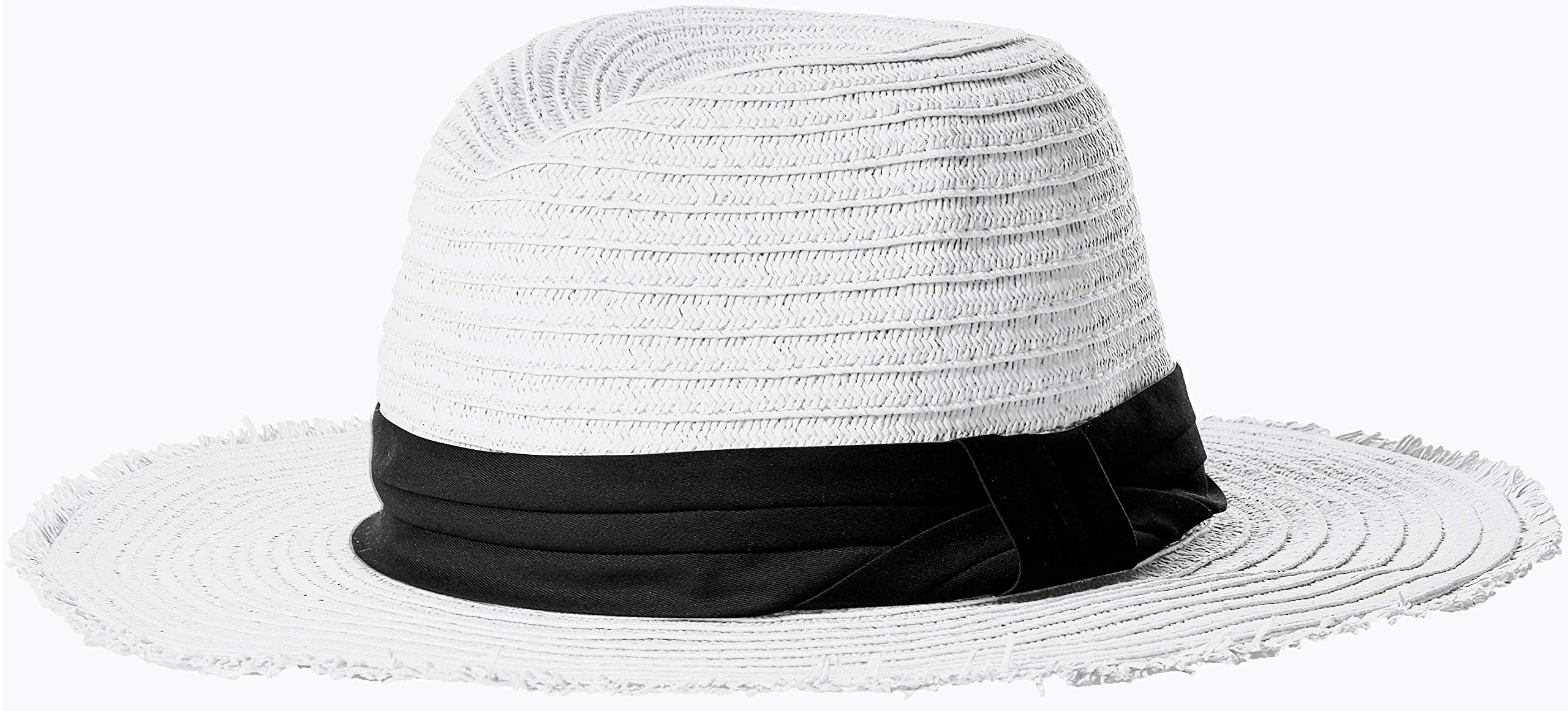 Steve Madden Women's Paper Braid Fedora with Pleated Knotted Band, White One Size