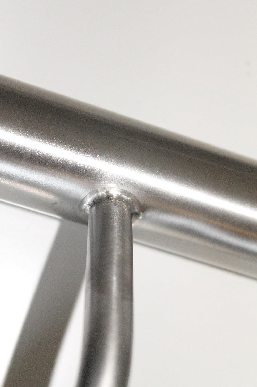 Edelstahl Handlauf V2A 42,4mm 240K geschliffen Wandhandlauf mit leicht gew/ölbter Endkappe 1200 mm UNGETEILT