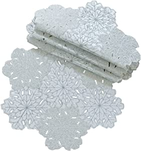 Xia Home Fashions Shimmer Snowflake Embroidered Cutwork Round Christmas Doilies, 12-Inch, Set of 4