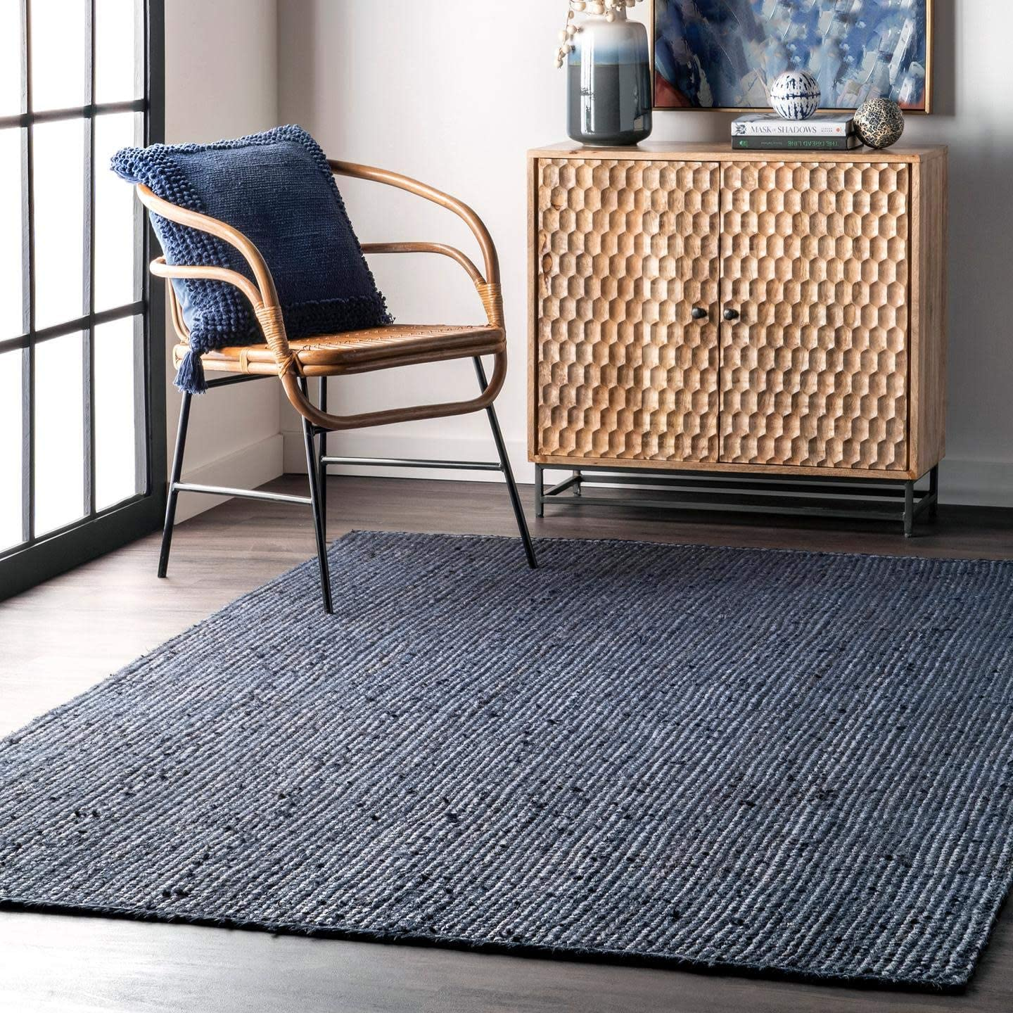 nuLOOM Rigo Hand Woven Jute Accent OFFicial Rug Inexpensive Navy x 2' 3'