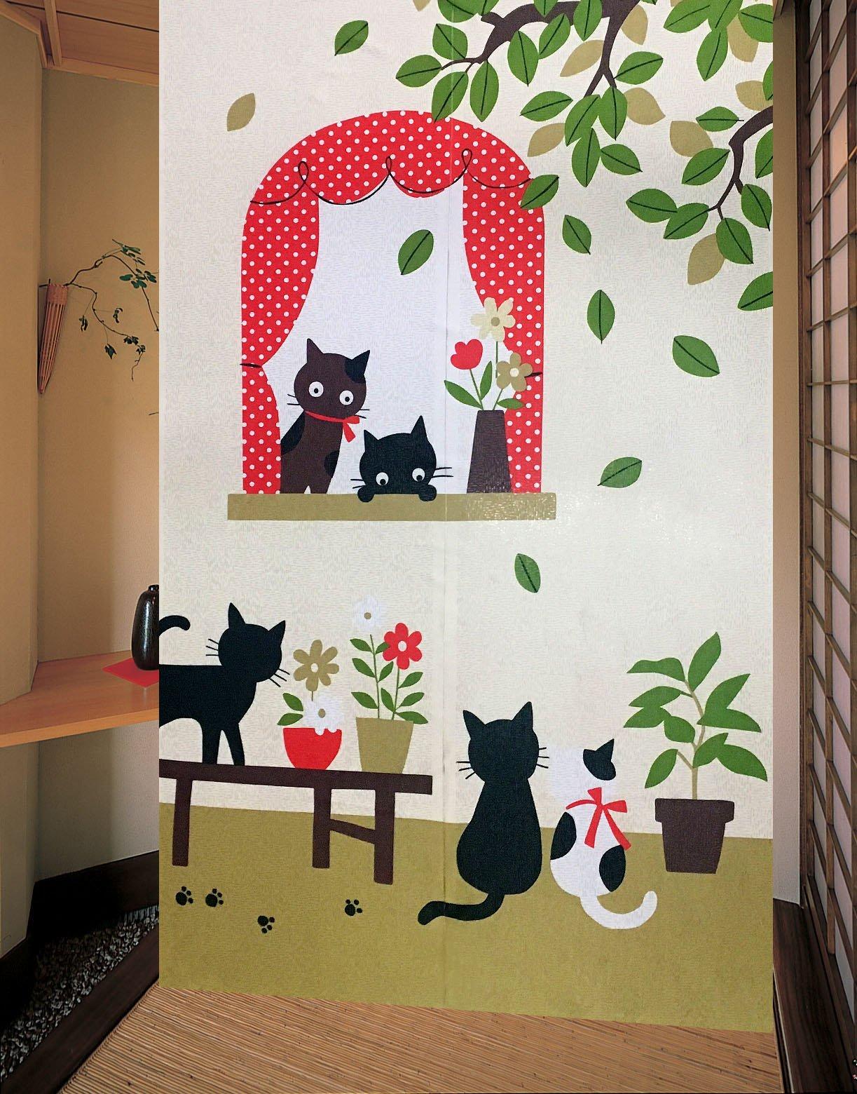 LifEast Happy Animals Pattern Japanese Noren Curtain Children Room Doorway Curtain (Series 1) by LifEast