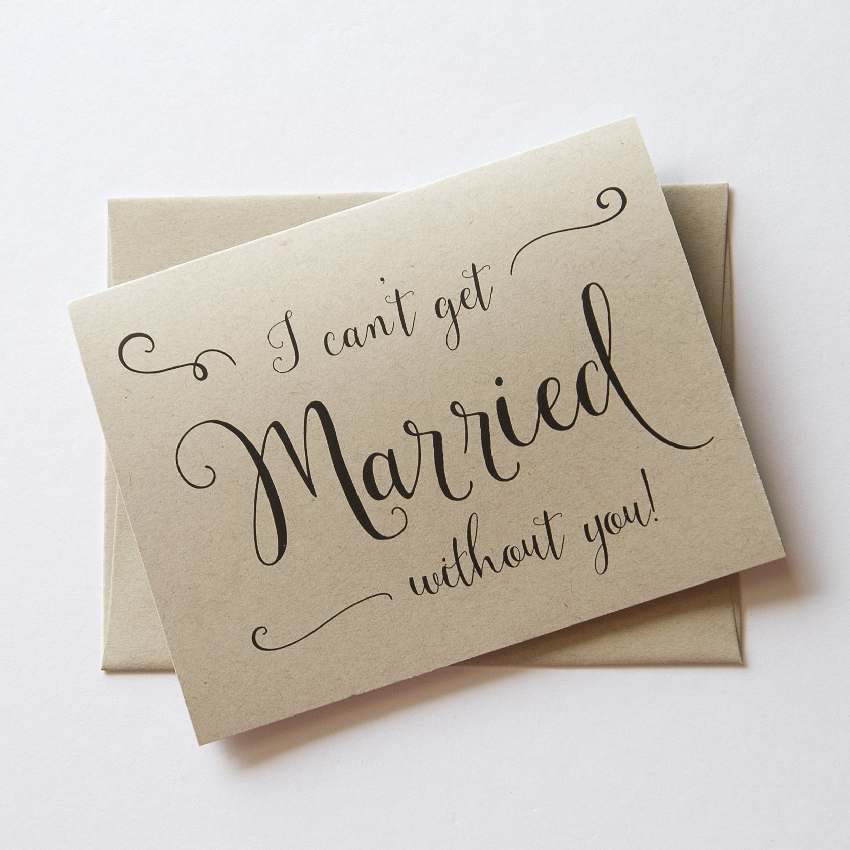 8 ct I Can't Tie The Knot Without You Wedding Day Cards Thank You Cards, Rustic Bridesmaid Cards (WB030-MB)