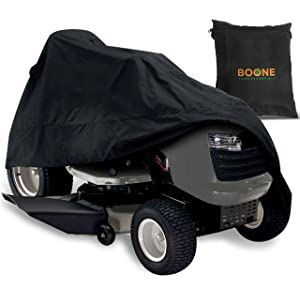 "Riding Lawn Mower Cover - Waterproof Lawn Tractor Cover for Yard or Garage Storage - Fits Up to 54"" Deck - Black"