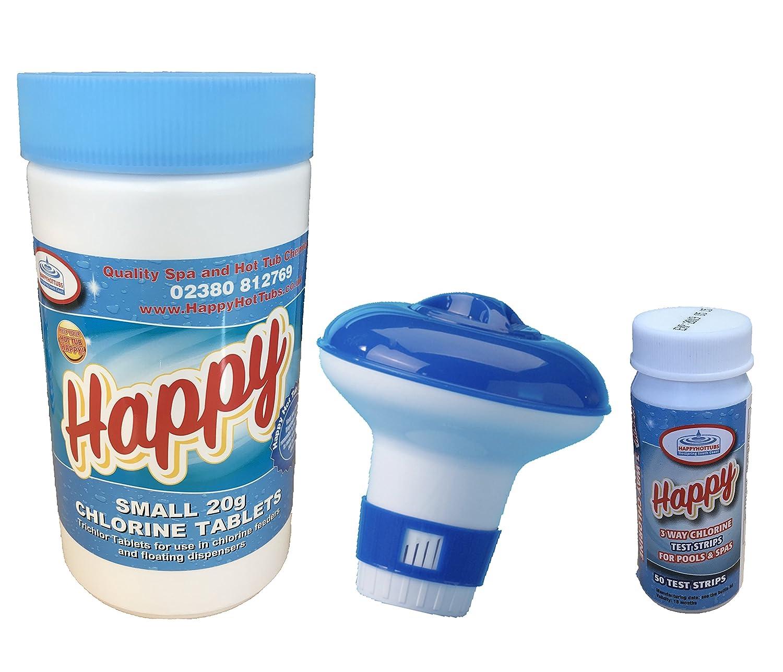 1kg Chlorine Tablets +50 Aquachek Test Strips + Dispenser Hot Tub Starter Kit by HAPPY HOT TUBS
