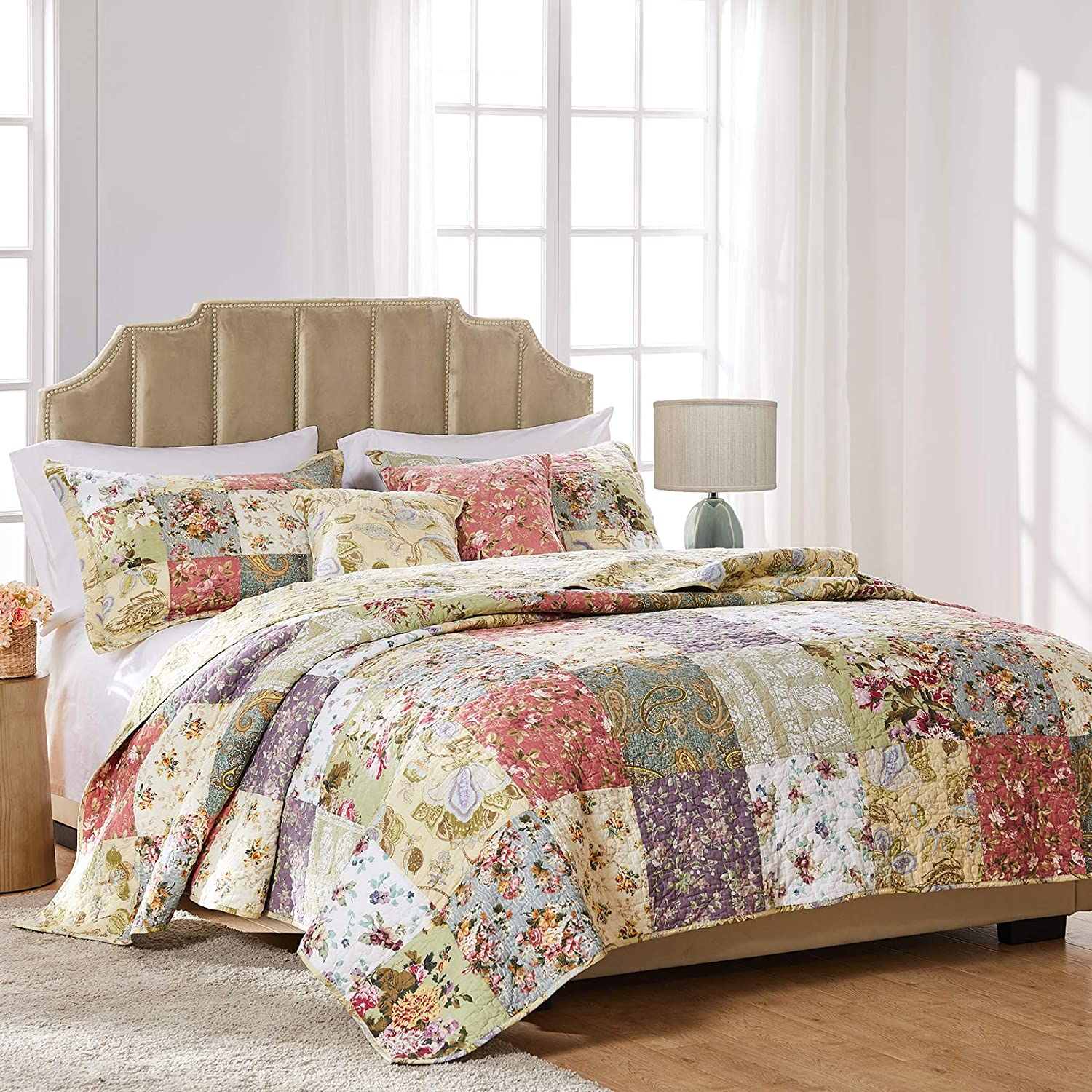 Greenland Home Blooming Prairie Cotton Patchwork Quilt Set, 5-Piece King/Cal King, Multi