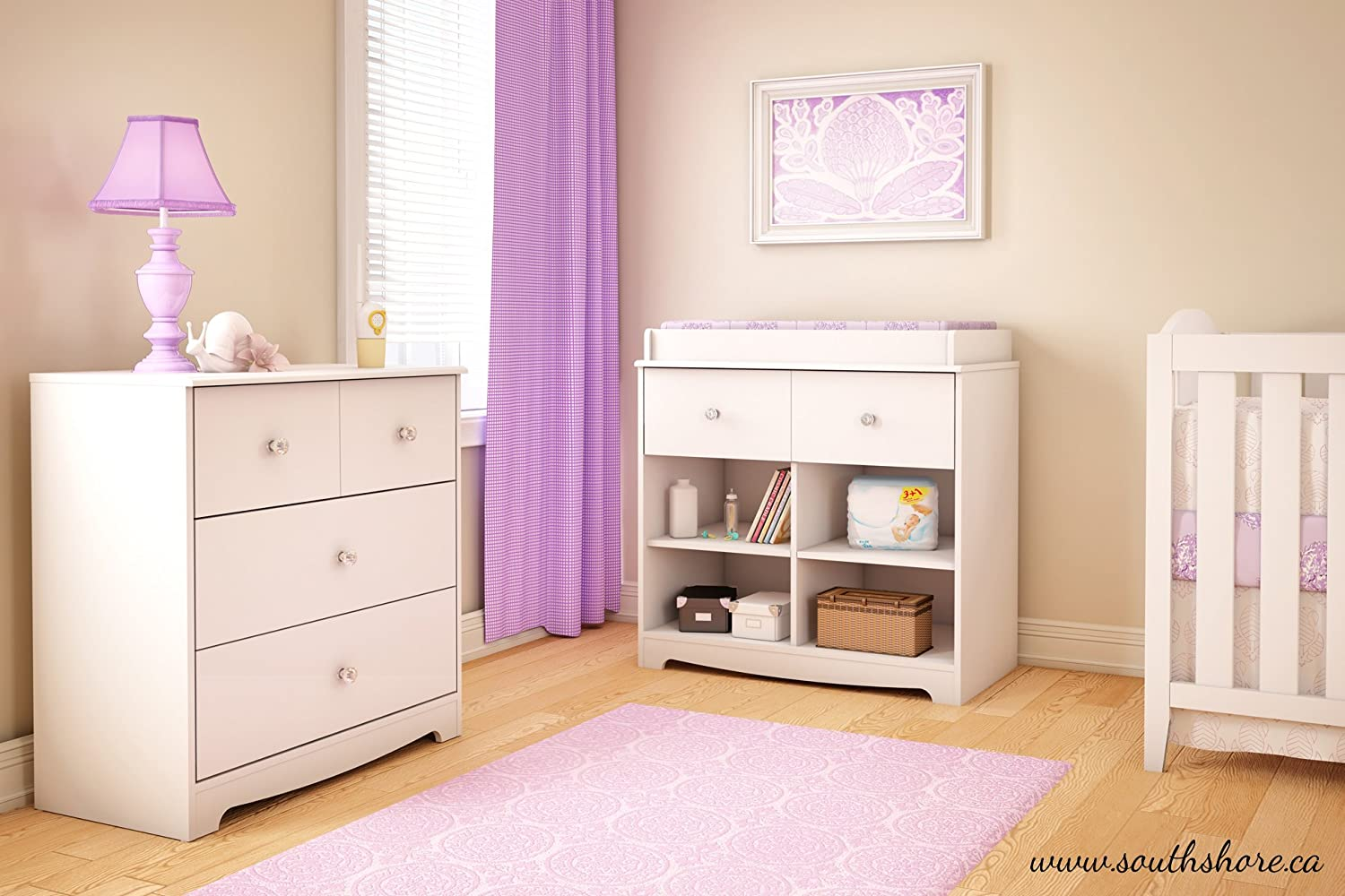 South Shore Little Jewel Small 1-Drawer Changing Table with Cube Storage Pure White
