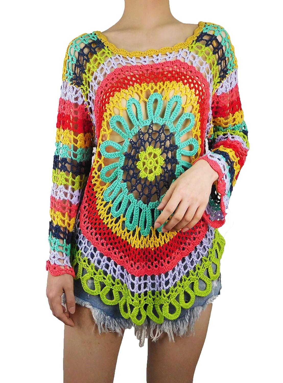 Multicolor 2 Marpressel Women's Crew Neck Colourful Hand Crochet Beach Bikini Swimsuit Cover Ups Hollow Out Top
