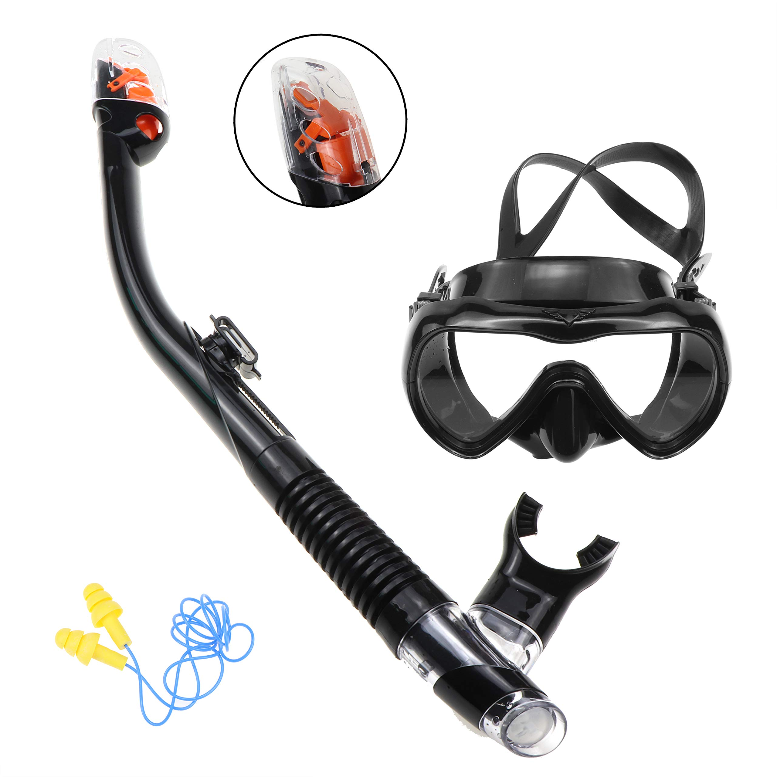 SENDOU Panoramic Wide View Scuba Diving Snorkeling Freediving Mask Swimming Earplug Snorkel Set 3Pcs (Black)