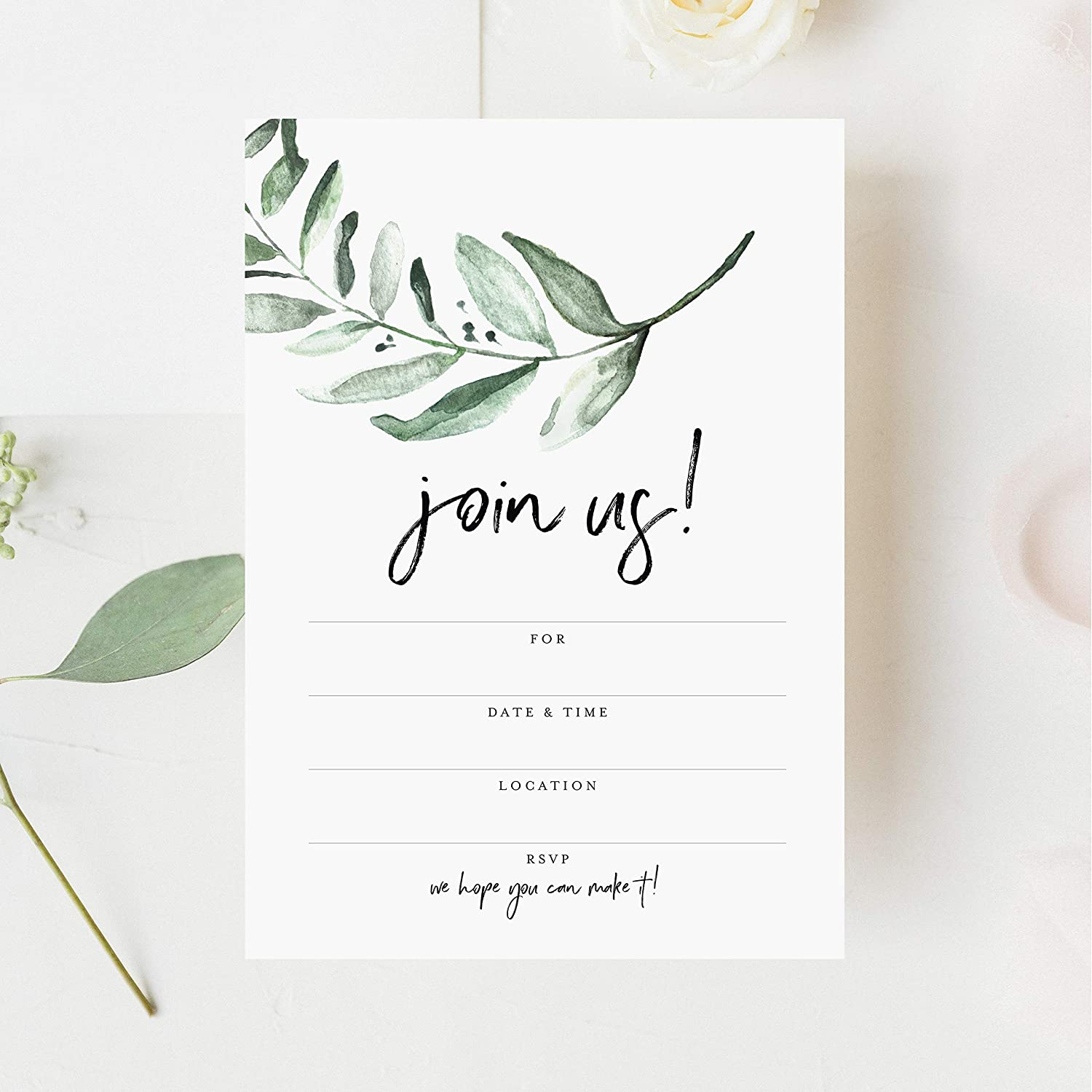 Amazon.com: Bliss Collections 25 Invitations with Envelopes for All  Occasions, Greenery Invites Perfect for: Weddings, Bridal Showers,  Engagement, Birthday Party or Special Event, Fill in Rustic Invites:  Kitchen & Dining