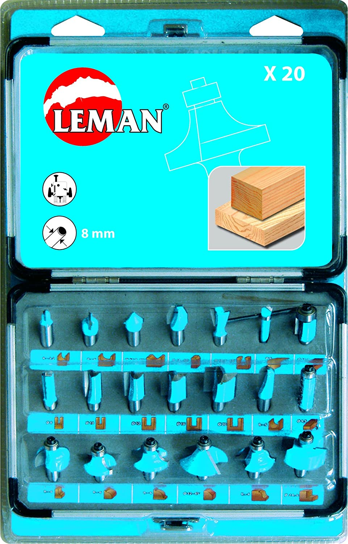 Bleu Leman 428.700 1 coffret 20 m/éches de d/éfonceuse carbure assorties queue 8 mm