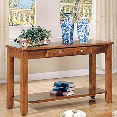 Sofa Table Logan Collection Featuring Single Drawer and Shelf for Storage, Warm Oak Finish