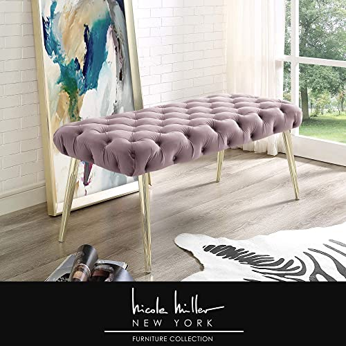Claude Lilac Gold Velvet Bench