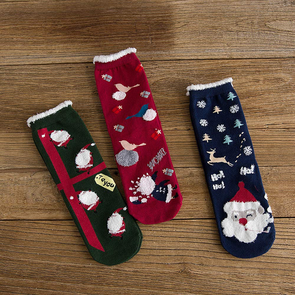 Highpot Womens Winter Wool Crew Socks Colorful Christmas Pattern Dress Socks