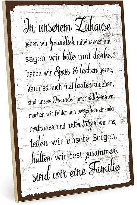 Typestoff Holzschild Mit Spruch Familie Regeln Hausordnung Shabby Chic Retro Vintage Nostalgie Deko Typografie Grafik Bild Bunt Im Used Look Aus